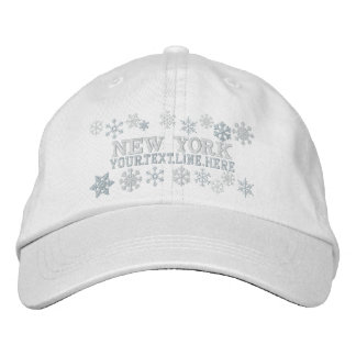 Personalized New York Winter Snowflakes Embroidered Baseball Caps