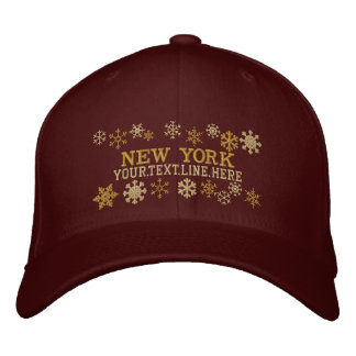 Personalized New York Winter Snowflakes Embroidered Cap