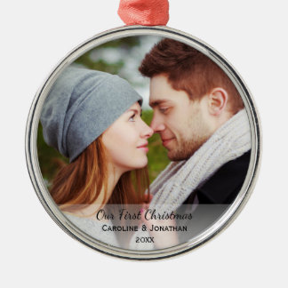 Personalized Newlywed Photo Our First Christmas Christmas Ornament