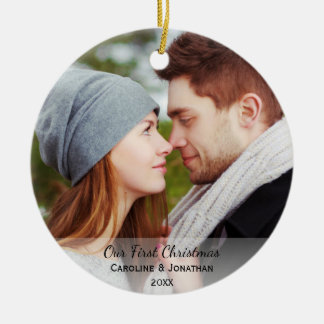 Personalized Newlywed Photo Our First Christmas Round Ceramic Decoration