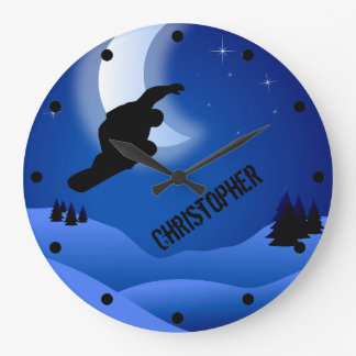 Personalized Night Snowboarding Mountain and Moon Clock