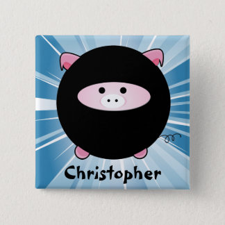 Personalized Ninja Pig on Blue 15 Cm Square Badge