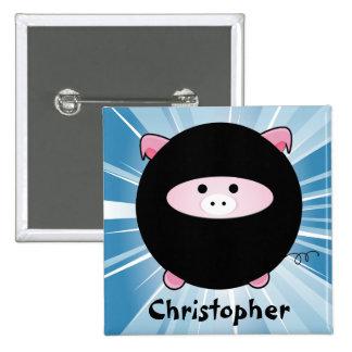 Personalized Ninja Pig on Blue 15 Cm Square Badge