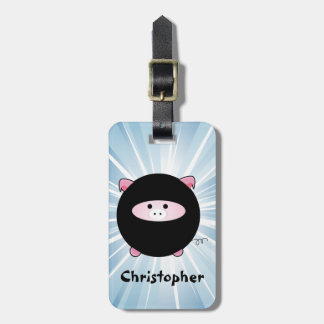 Personalized Ninja Pig on Blue Luggage Tag