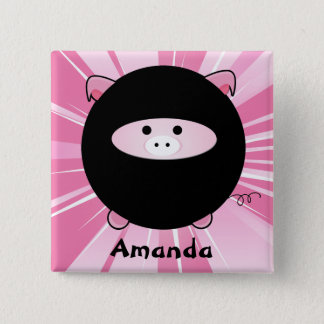 Personalized Ninja Pig on Pink 15 Cm Square Badge