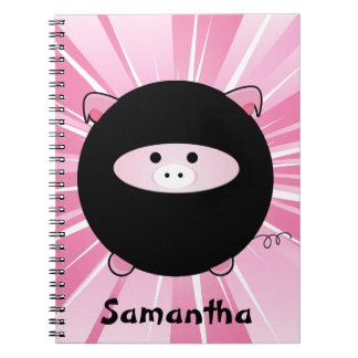 Personalized Ninja Pig on Pink Notebook