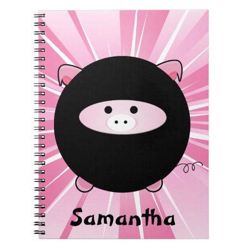 Personalized Ninja Pig on Pink Note Book