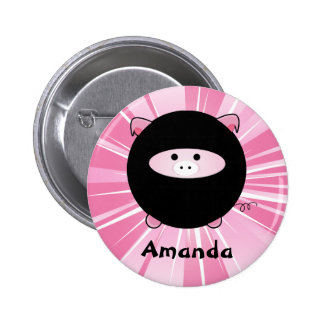 Personalized Ninja Pig on Pink Round Button