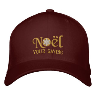 Personalized Noel Snowflake Golden Embroidered Baseball Caps