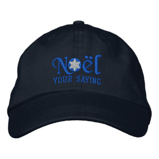 Personalized Noel Snowflake in Blue Embroidered Baseball Caps