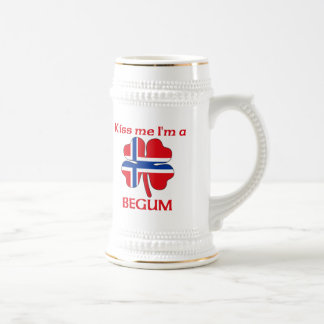 Personalized Norwegian Kiss Me I'm Begum 18 Oz Beer Stein