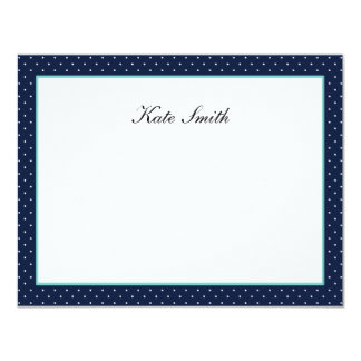 """Personalized Note Cards - Navy Blue & Aqua - Dots 4.25"""" X 5.5"""" Invitation Card"""