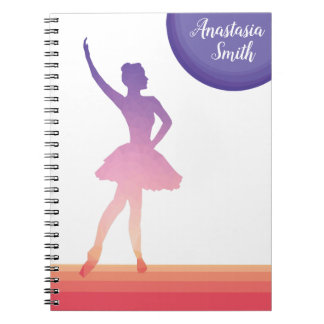 Personalized notepad ballerina  silhouette dancing notebook