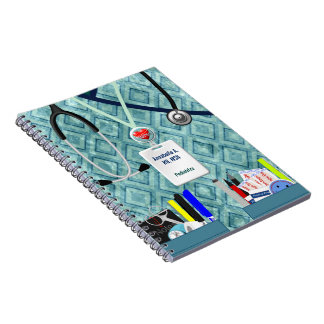 Personalized Nurse Pockets Blue & Teal Notebook