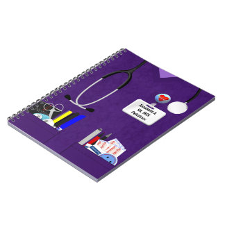 Personalized Nurse Pockets in Purple Notebook