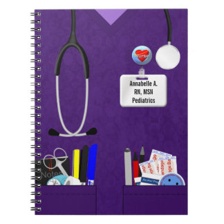 Personalized Nurse Pockets in Purple Spiral Notebook