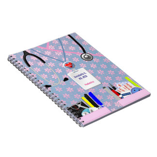 Personalized Nurse Pockets Pink & Lavender Spiral Notebook