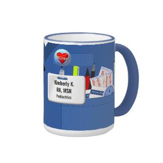Personalized Nurse Scrubs in Blue Ringer Mug