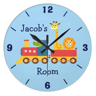Personalized Nursery Animal Train Wall Clock