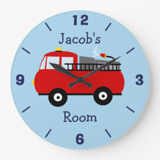 Personalized Nursery Fire Engine Wall Clock