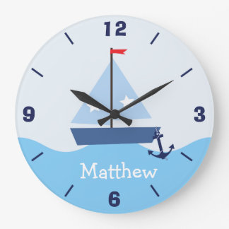 Personalized Nursery Nautical Sail Boat Wall Clock