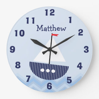 Personalized Nursery Nautical Wall Clock