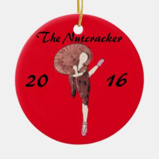 Personalized Nutcracker Ornament- Chinese Round Ceramic Decoration