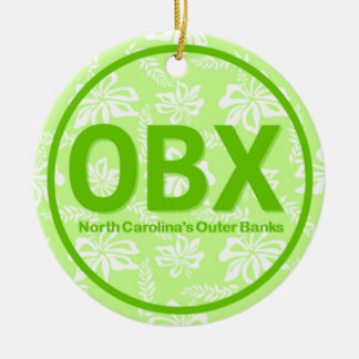 Personalized OBX Outer Banks North Carolina Green Christmas Ornament