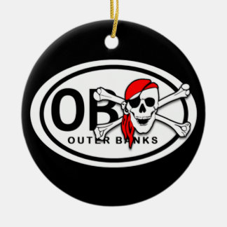 Personalized OBX Skull and Crossbones Pirate Christmas Ornament