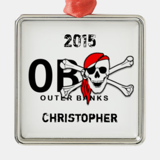 Personalized OBX Skull Crossbones Pirate Ornament