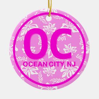 Personalized OC Ocean City NJ Pink Floral Ornament