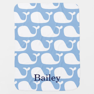 Personalized Ocean Blue Whales Baby Blanket
