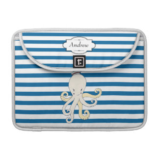Personalized Octopus Blue and White Stripe Sleeve For MacBooks