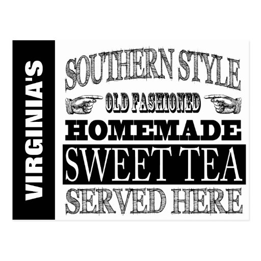 Personalized old fashioned sweet tea sign post card