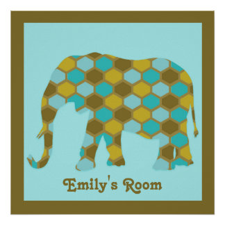 Personalized Olive Green Blue Gold Elephant Poster