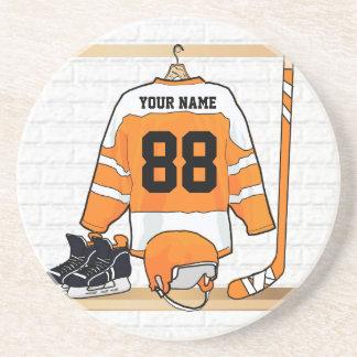 Personalized Orange and White Ice Hockey Jersey Coaster