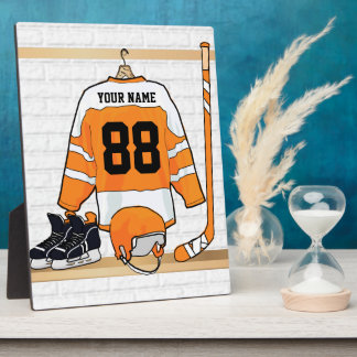Personalized Orange and White Ice Hockey Jersey Display Plaques