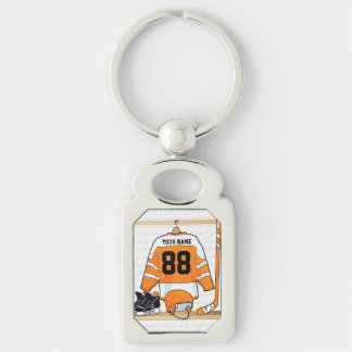 Personalized Orange and White Ice Hockey Jersey Key Ring