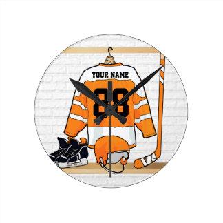 Personalized Orange and White Ice Hockey Jersey Round Clock