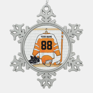 Personalized Orange and White Ice Hockey Jersey Snowflake Pewter Christmas Ornament