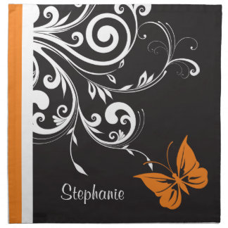 Personalized Orange Black White Butterfly Flourish Napkins