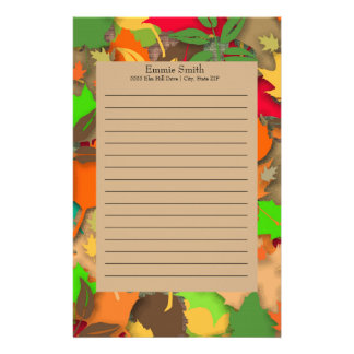 Personalized Orange Brown Red Green Fall Leaves Stationery