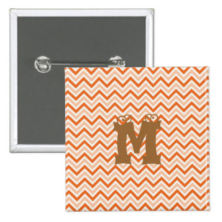 Personalized orange-chevron 15 cm square badge