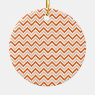 Personalized orange-chevron christmas ornament