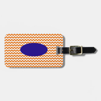 Personalized Orange Chevron Luggage Tag