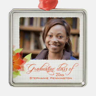 Personalized orange floral photo graduation christmas ornament