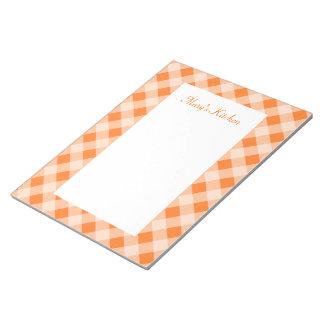 Personalized Orange Gingham Notepad