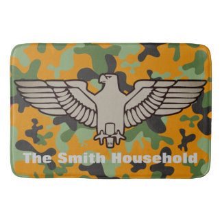 Personalized Orange Green Gray Camouflage Eagle Bath Mat