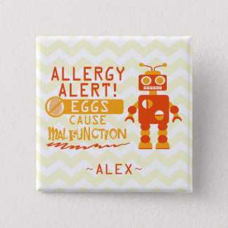 Personalized Orange Robot Egg Allergy Alert 15 Cm Square Badge