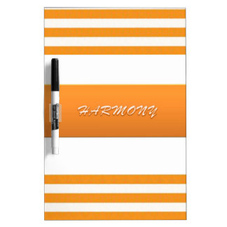 Personalized Orange Striped Dry Erase Board